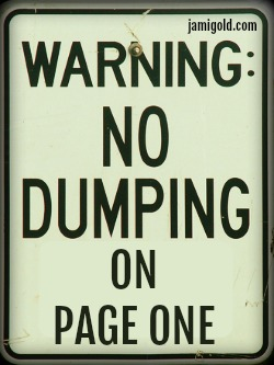 No dumping sign with text: Warning: No Dumping on Page One