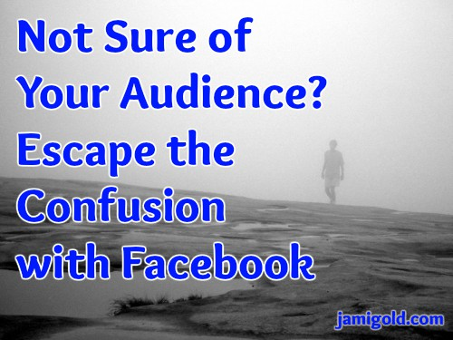 Man emerging from fog with text: Not Sure of Your Audience? Escape the Confusion with Facebook
