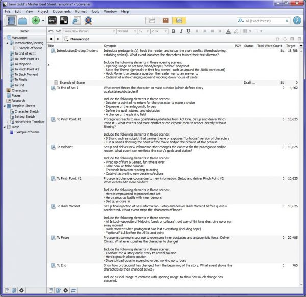 Master Scrivener template Outline view