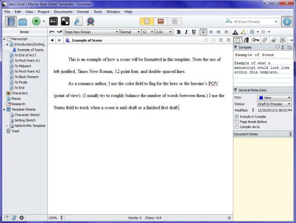 Screenshot of sample scene in Master Scrivener template