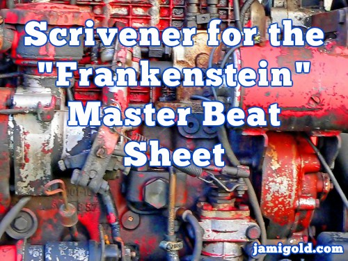 "Messy-looking red and blue engine with text: Scrivener for the ""Frankenstein"" Master Beat Sheet"