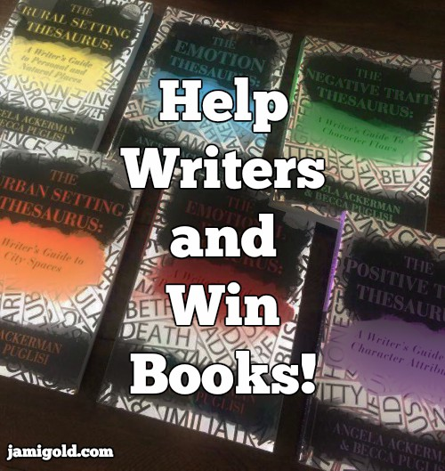Thesaurus books in background with text: Help Writers and Win Books!