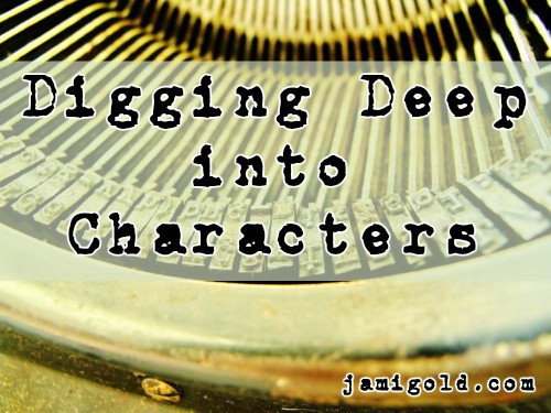 Strikers in a typewriter with text: Digging Deep into Characters