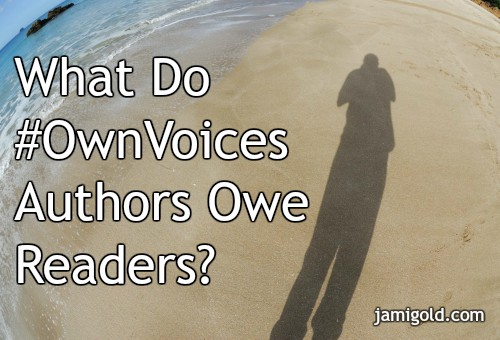 Figure taking photo of their shadow on a beach with text: What Do #OwnVoices Authors Owe Readers
