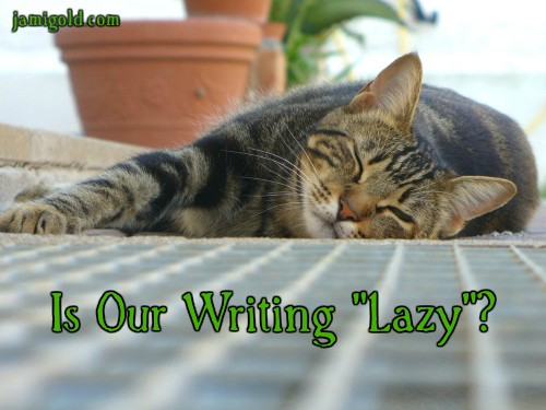 "Cat asleep on a rug with text: Is Our Writing ""Lazy""?"