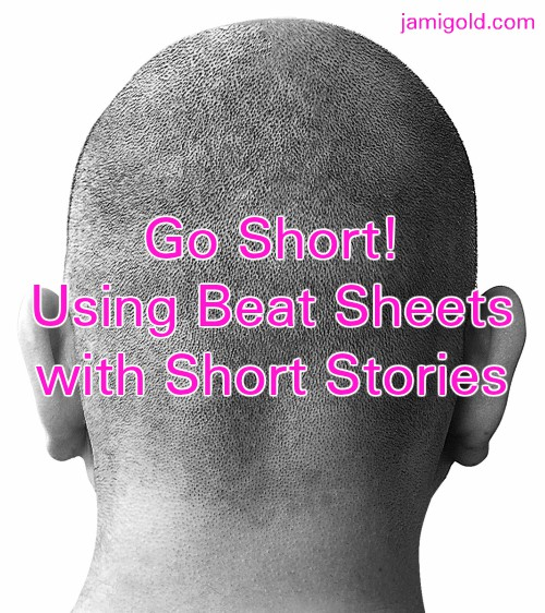 Back of man's shaved head with text: Go Short! Using Beat Sheets with Short Stories