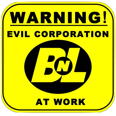 Buy-n-Large logo with text: Warning! Evil Corporation at Work