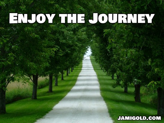 White stone path through tunnel of trees with text: Enjoy the Journey