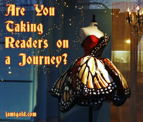 Designer dress like a giant butterfly with text: Are You Taking Readers on a Journey?