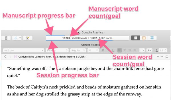 Screenshot of targets displaying in search bar