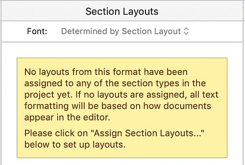 Screenshot of warning message for section layouts