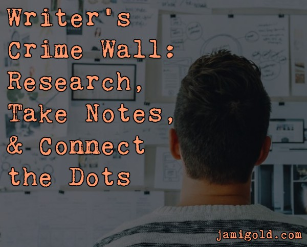 Man looking at wall covered in papers with Text: Writer's Crime Wall: Research, Take Notes, & Connect the Dots