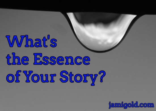 Closeup of a raindrop with text: What's the Essence of Your Story?
