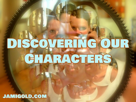 Lens refracting a face in multiple images with text: Discovering Our Characters