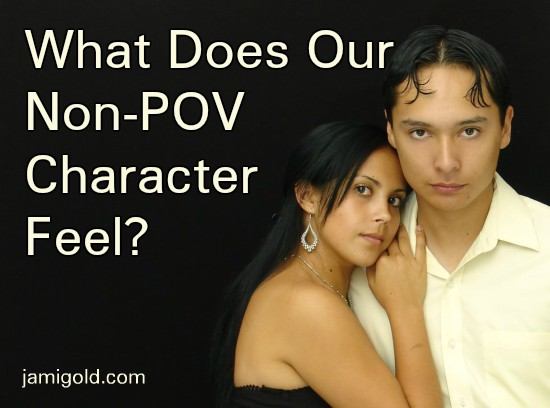 Latinx couple embracing with unclear expressions with text: What Does Our Non-POV Character Feel?