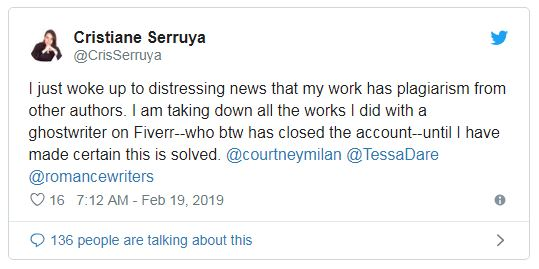 "Cristiane Serruya: ""...I am taking down all the works I did with a ghostwriter on Fiverr..."""
