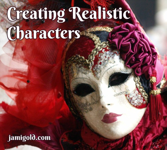 Woman wearing Venetian mask with text: Creating Realistic Characters