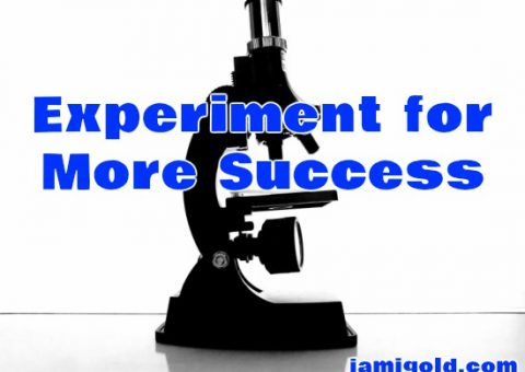 Microscope on white background with text: Experiment for More Success