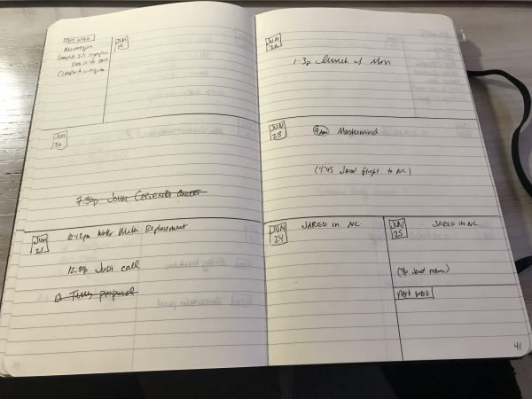 View of handwritten bullet journal schedule
