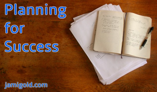 Open journal on a desk with text: Planning for Success