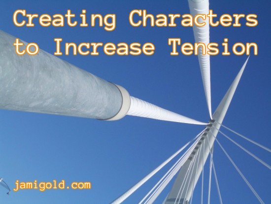 Close up view of antenna tension wires with text: Creating Characters to Increase Tension