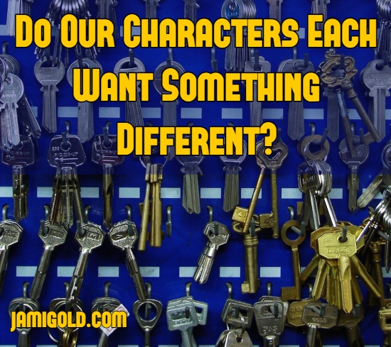Dozens of different keys hanging on wall with text: Do Our Characters Each Want Something Different?