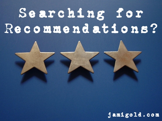 3 metal stars on a blue background with text: Searching for Recommendations?