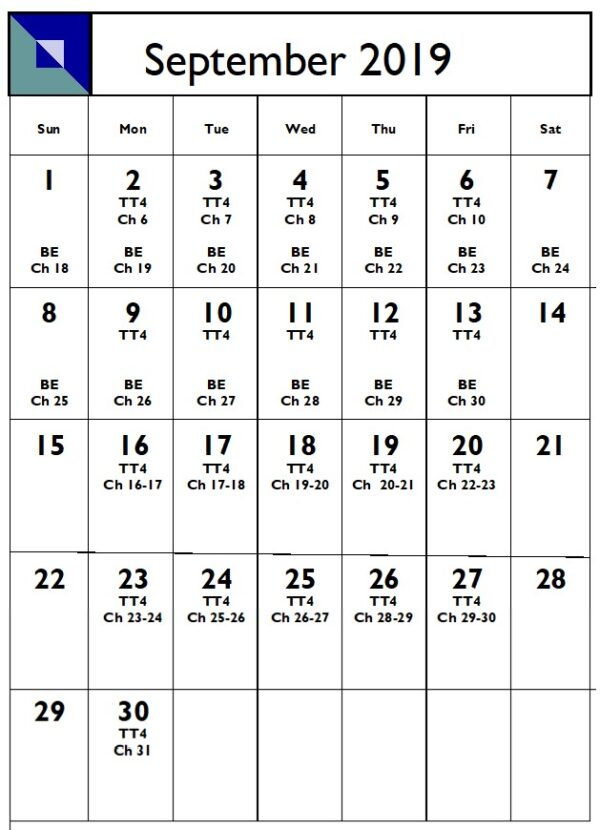 Example of a monthly writing schedule