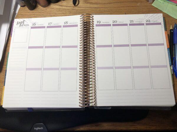 Example of Blank Weekly Plan