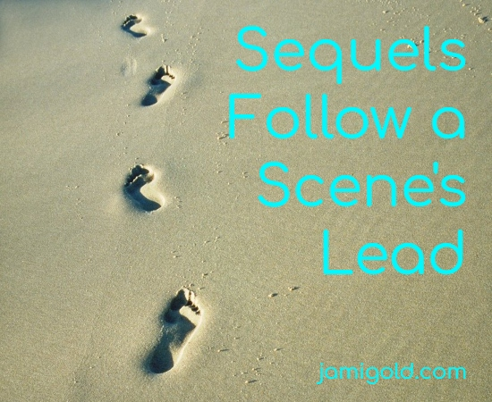 Footprints in sand with text: Sequels Follow a Scene's Lead