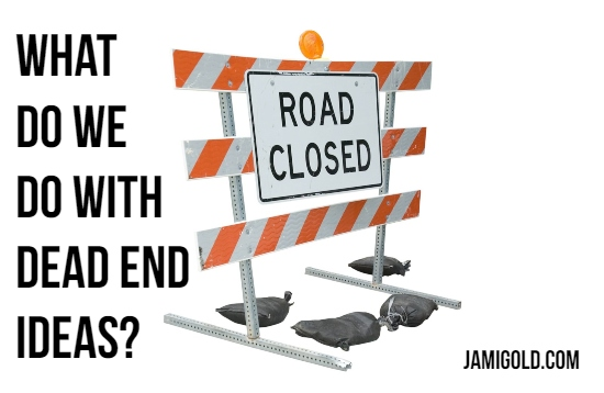 Road Closed construction sign with text: What Do We Do with Dead End Ideas?