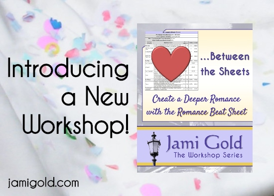 Image of Romance Beat Sheet workshop on background of confetti with text: Introducing a New Workshop!