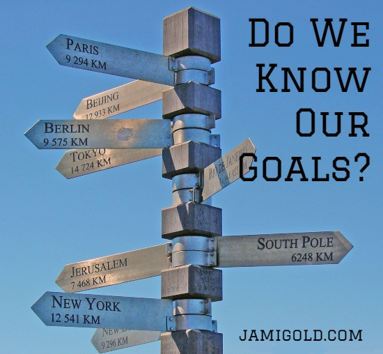 Signpost with directions and mileage to cities worldwide with text: Do We Know Our Goals?