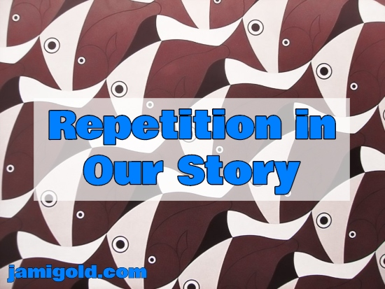 Drawing of a repeating fish pattern with text: Repetition in Our Story