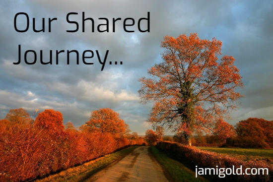 Tree with red fall colors along road with text: Our Shared Journey...