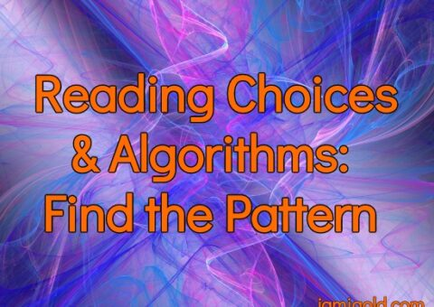 Swirly colored lines with text: Reading Choices & Algorithms: Find the Pattern