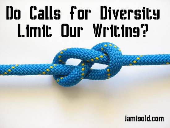 Blue rope in a figure-8 sailing knot with text: Do Calls for Diversity Limit Our Writing
