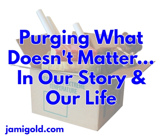 Overflowing moving box with text: Purging What Doesn't Matter...In Our Story & Our Life