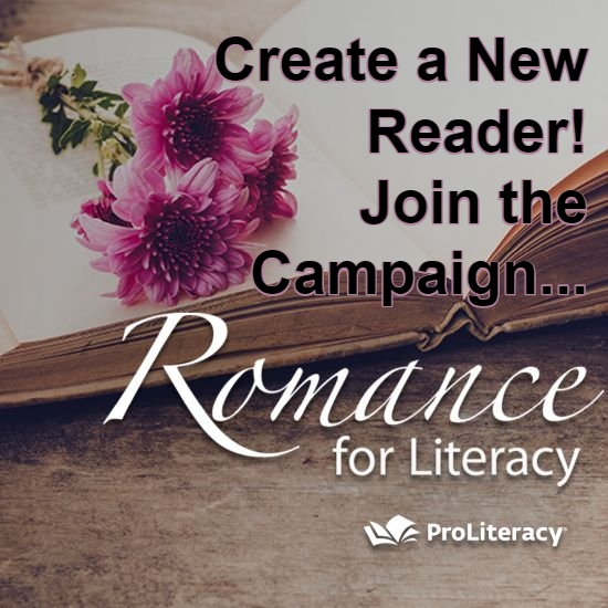 Flowers on a book with text: Create a New Reader! Join the Campaign... Romance for Literacy
