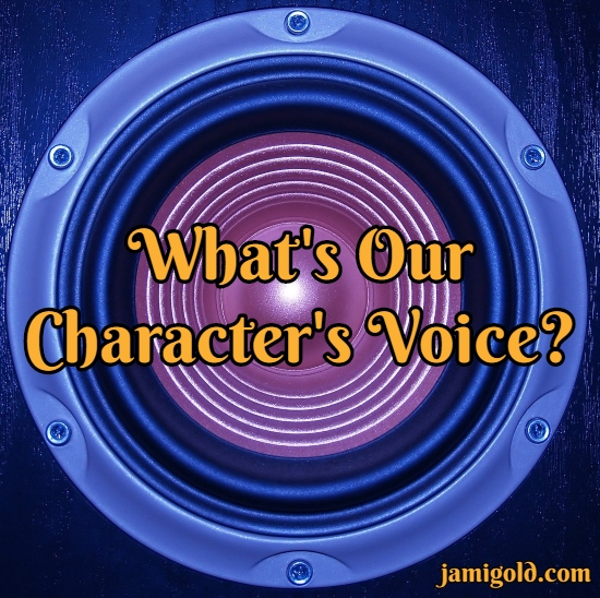 Closeup of a speaker with text: What's Our Character's Voice?