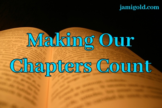 Open book pages with text: Making Our Chapters Count