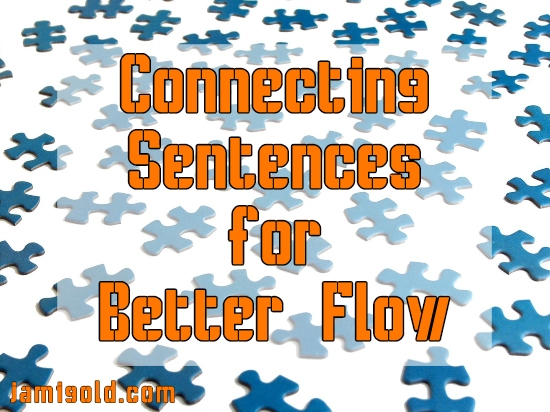 Scattered puzzle pieces with text: Connecting Sentences for Better Flow