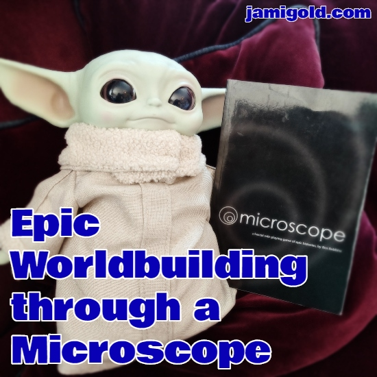 Baby Yoda toy posed with the Microscope game book